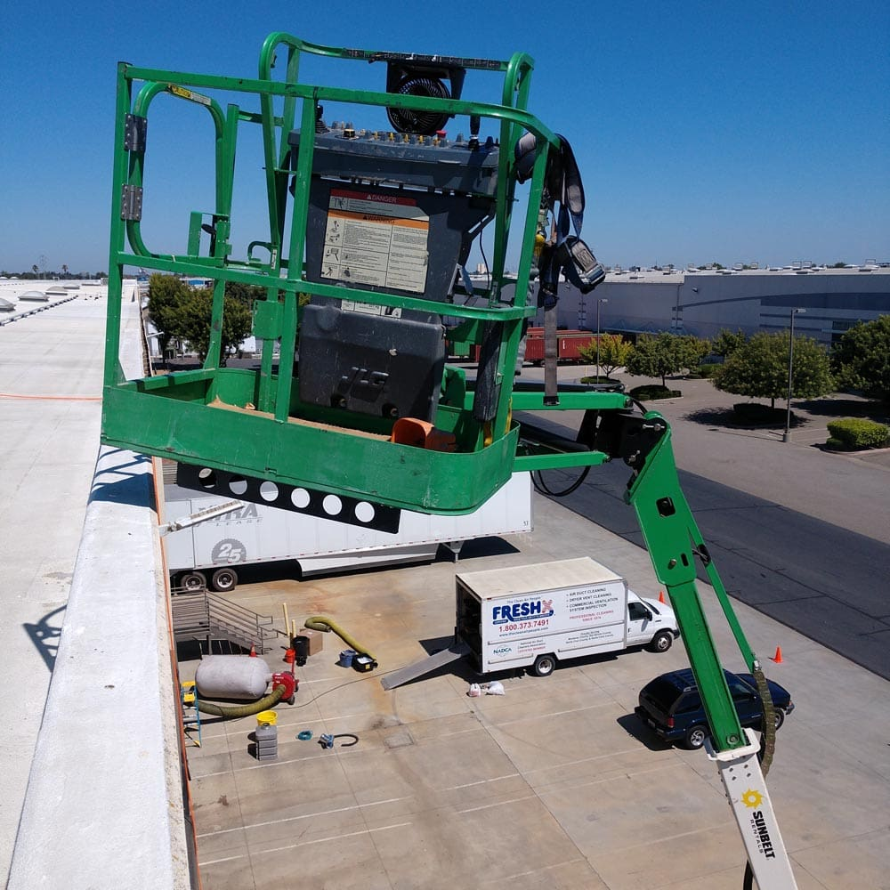 Commercial Setup Boom Lift and Equipment