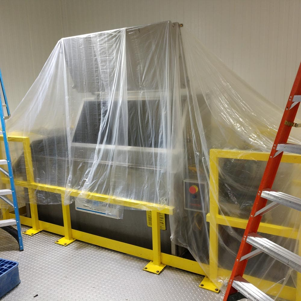 Commercial Setup Plastic Coverings Over Equipment
