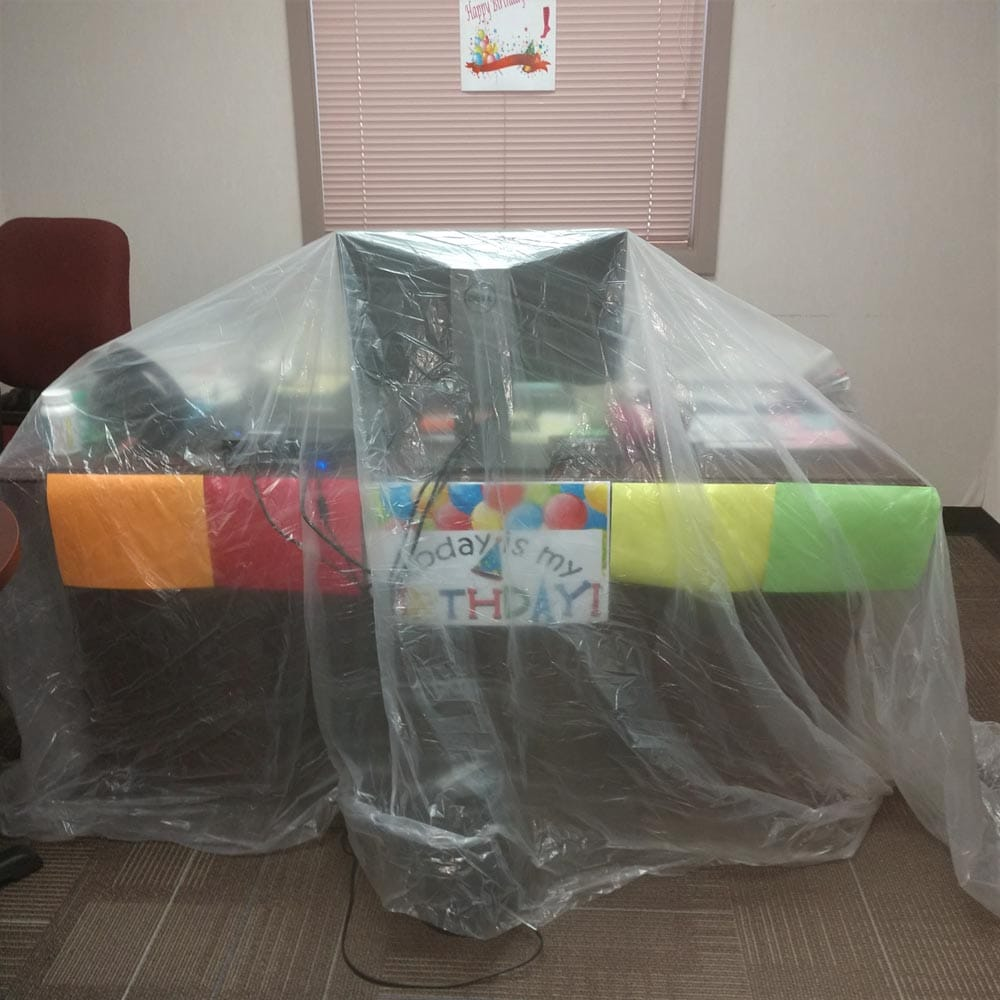 Commercial Setup Plastic Coverings Over Furniture