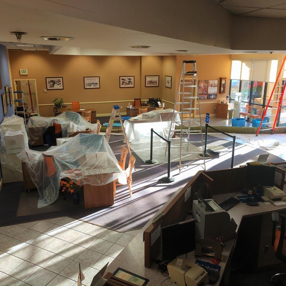 Commercial Setup Plastic Coverings Rabo Bank Salinas