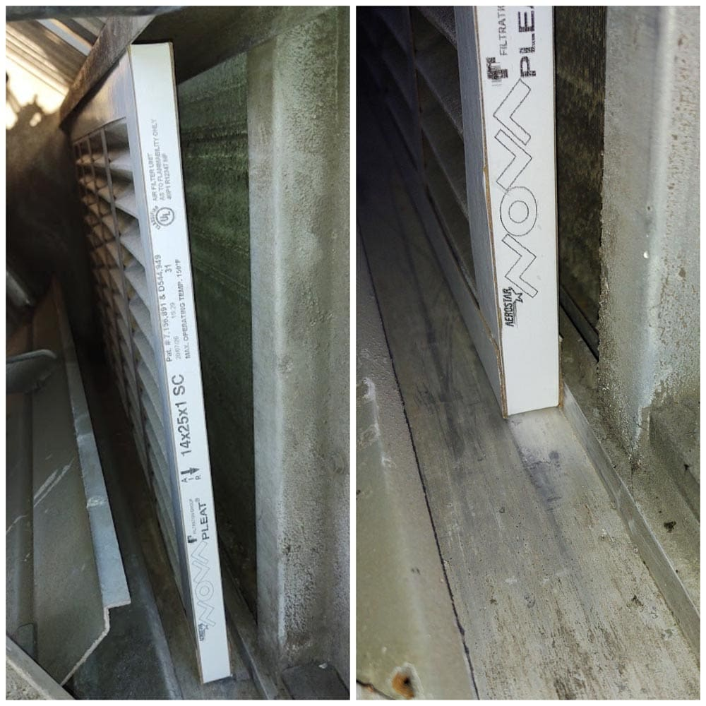 Commercial Ventilation Inspections Improper Filter Size
