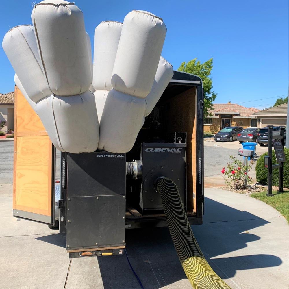 Residential Setup Trailer Cube Vac Negative Air Machine