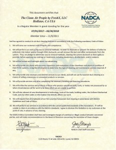 2017 2018 NADCA certification